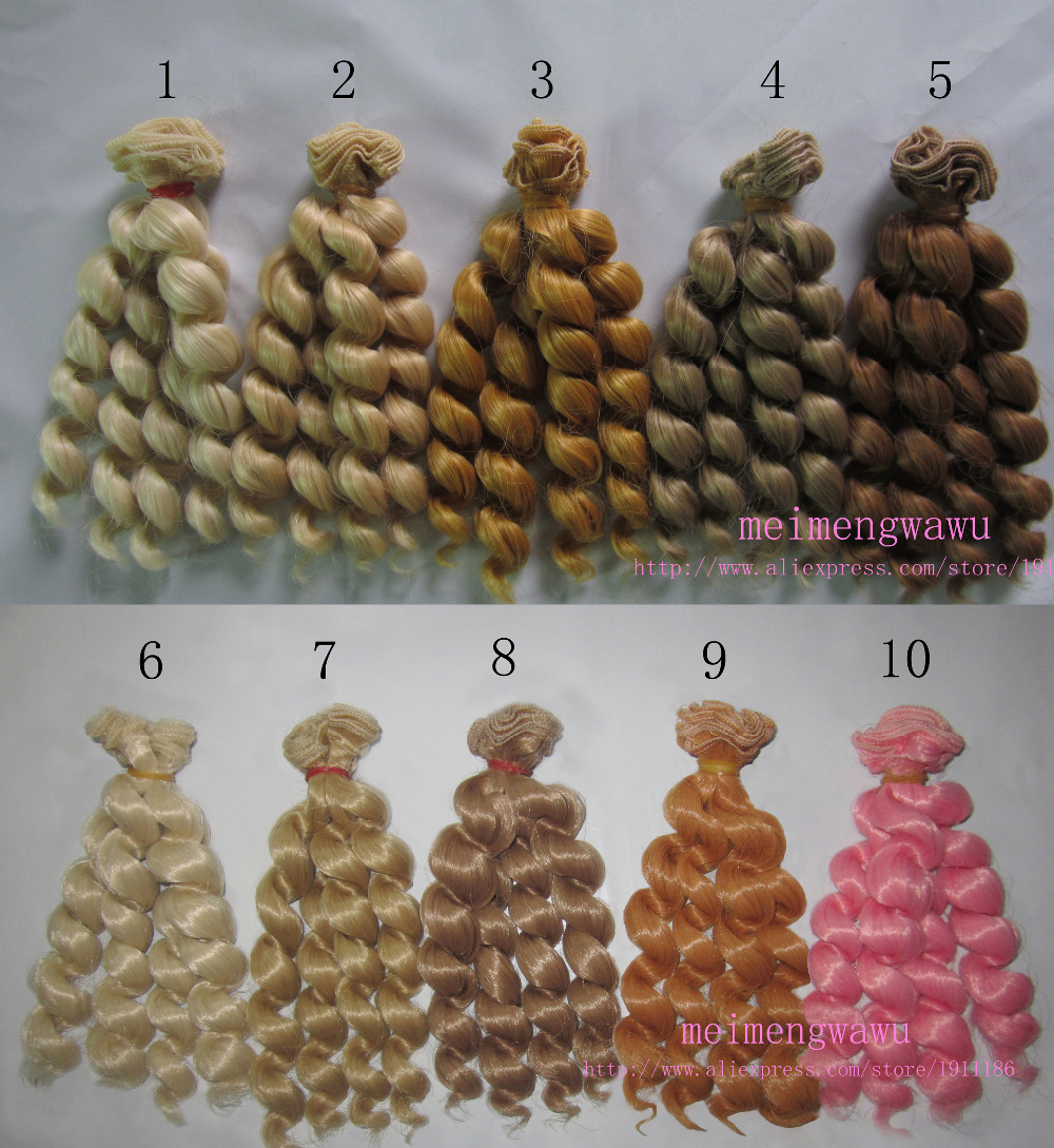 1pcs 15cm*100cm Natural curls Hair for dolls BJD/SD Doll Wigs style Multi color optional
