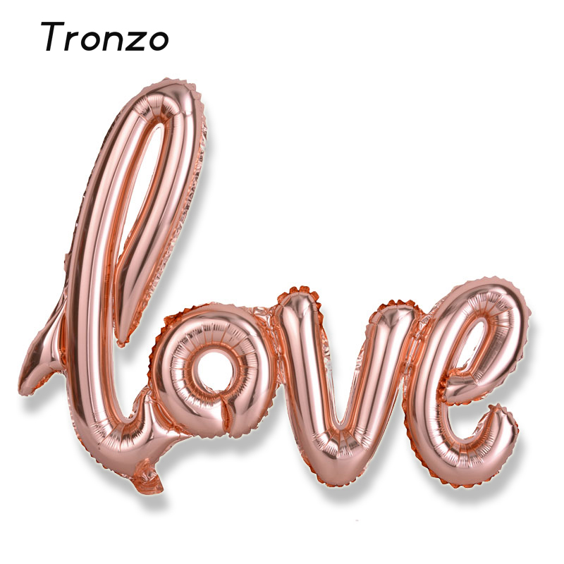 tronzo 40inch big ligatures love foil balloons 10565cm bridal shower rose gold balloons