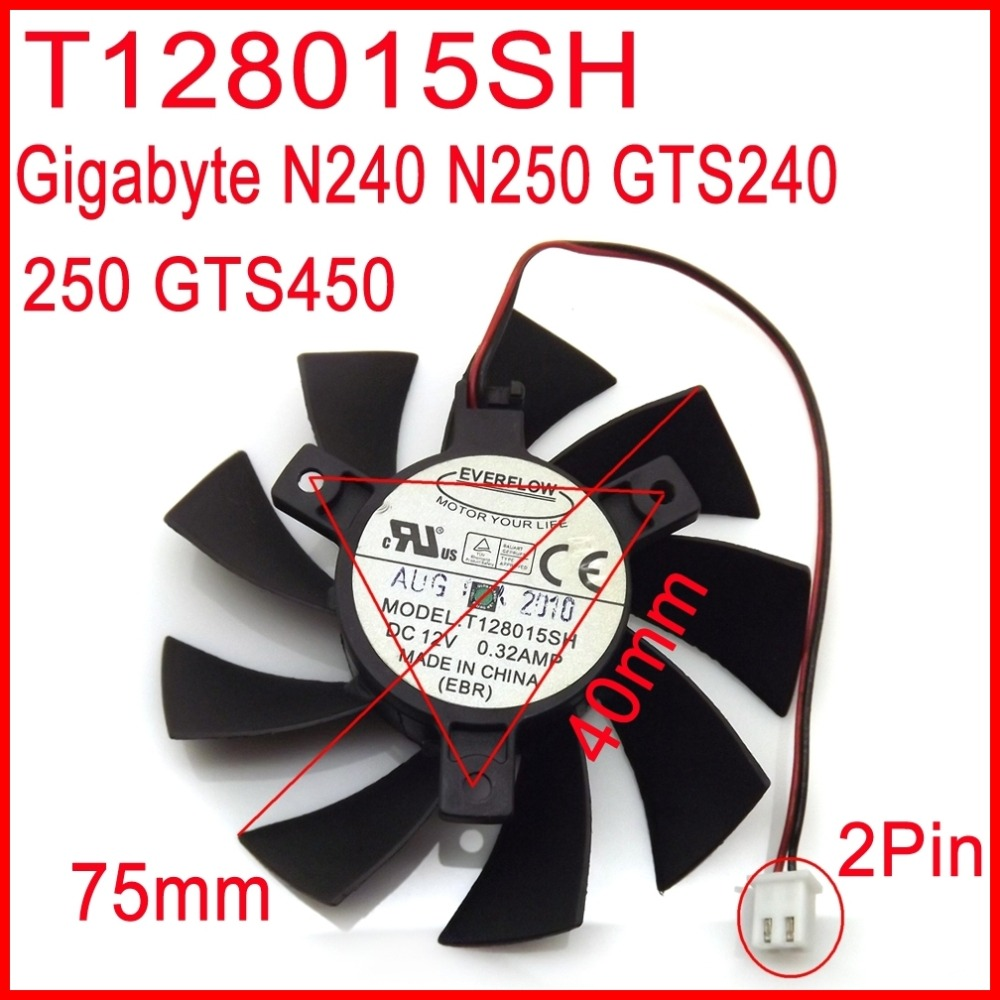 Free Shipping EVERFLOW T128015SH 12V 0.32A 75mm 40x40x40mm For Gigabyte N240 N250 GTS240 250 GTS450 Graphics Card Cooling Fan