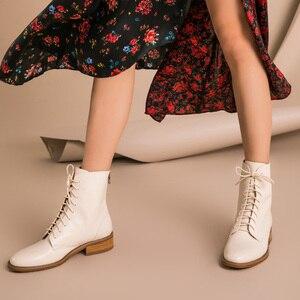 Image 5 - Beautoday Mắt Cá Chân Giày Nữ Da Bò Chính Hãng Da Mũi Tròn Cột Dây Dây Kéo Sau Mùa Đông Nữ Thời Trang Handmade 02202