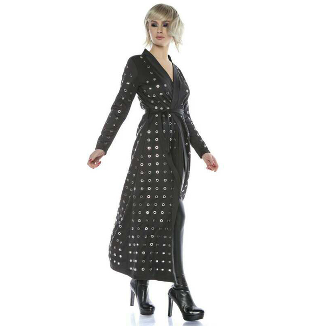 2108 Dress Fashion Women Autumn Black Tunic Dress With Metal Holes Long Sleeve Deep V Neck Lady Stylish Party Sexy Dress 7126