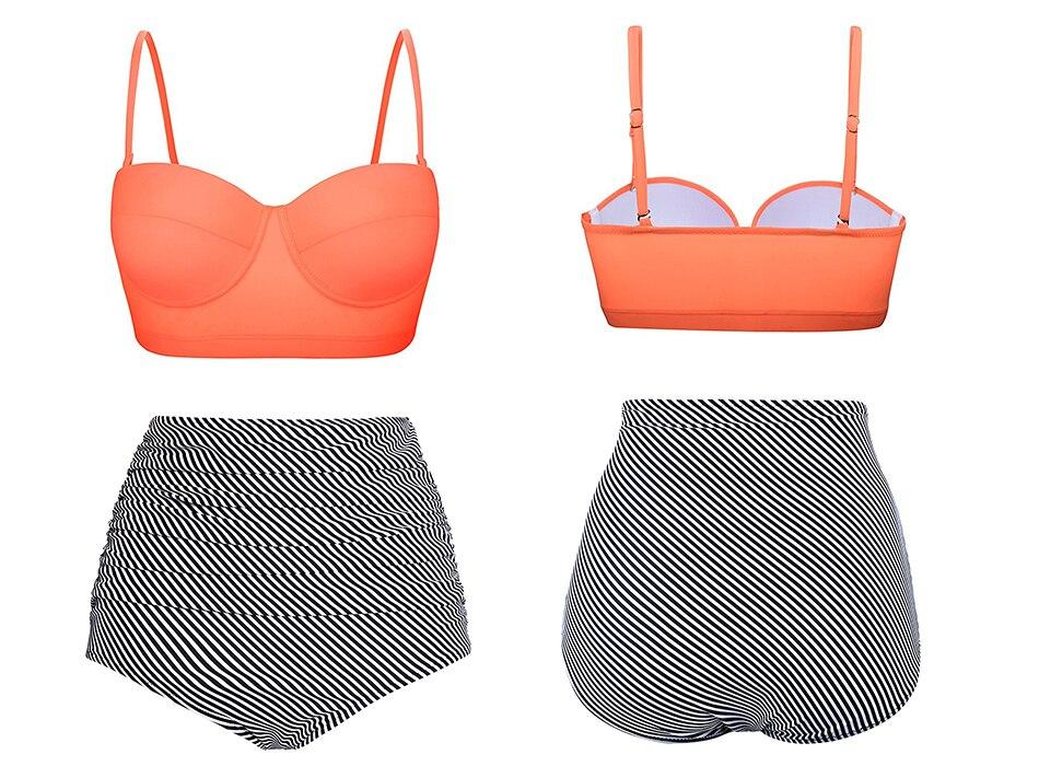 HTB14jTHJb1YBuNjSszeq6yblFXaE Push Up Women Swimsuit High Waist Bikinis Plus Size Swimwear Vintage Bikini Set Bathing Suits Retro Floral Beach Wear Biquini