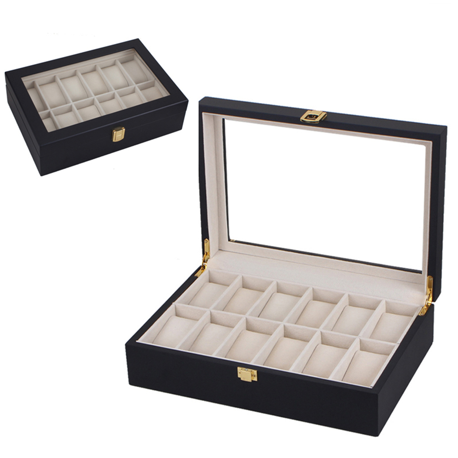 Hot Sale Watch Boxes 12 Slots MDF Wristwatch Packaging Box Painted Wood Storage Boxes Luxury Watch Display for Collection Black watchcase storage luxury 22 slots 2 layer wood glossy lacquer watch box jewelry collection display drop shipping supply
