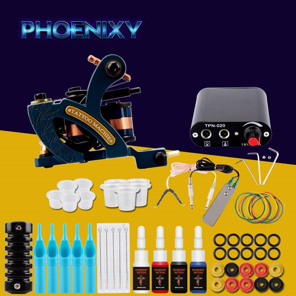 Completo Della Macchina Del Tatuaggio Kit Set 1 Bobine Pistole 4 Colori Nero Pigmento Set di Alimentazione Tatoo Principiante Grip Kit di Trucco Permanente