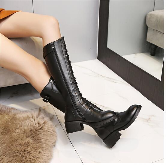 2017 Autumn Winter Woman Genuine Leather Knee Square Heel Boots Knee High Black Zipper Boots Thick Heel Round Toe Knee Boots boots women high heel black crystal winter zipper shoes 2017 round toe square heel knee high short plush platform leather boots