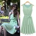 Лето европейский стиль женщины шею плиссированные шифоновое платье симпатичные без рукавов повязки свободного покроя платья бесплатная доставка A1005