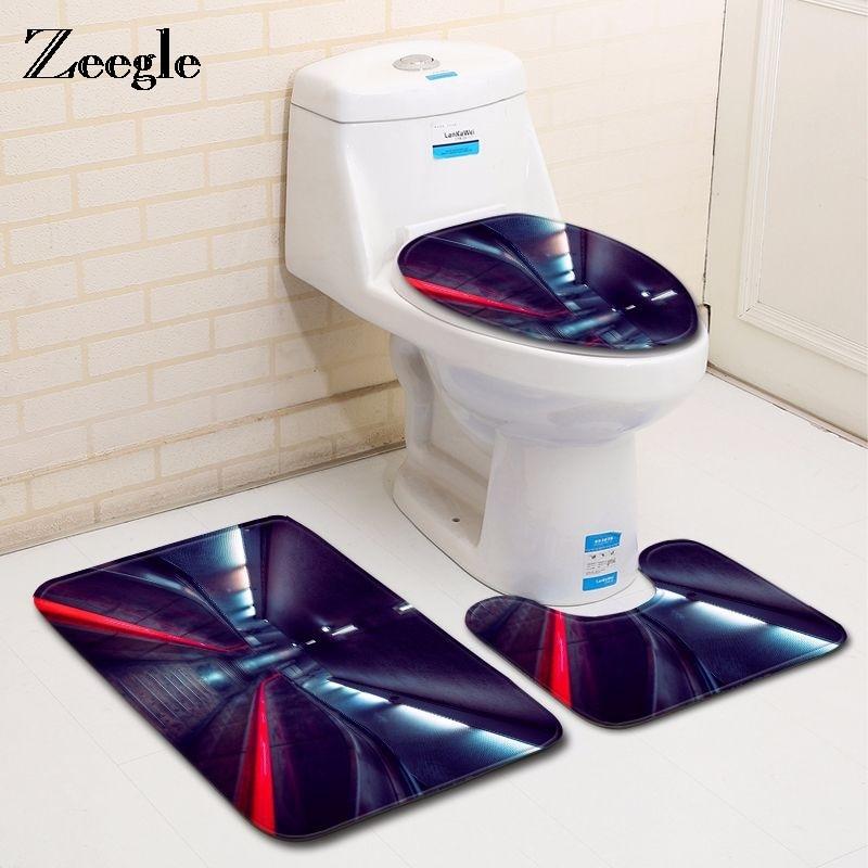Zeegle Bath Mats Carpet Night Lights Pattern Anti Slip Bathroom Mat Set Floor Bath Mats Washable