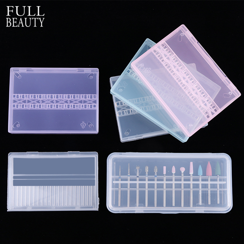 Full Beauty 1pcs Nail Drill Bit Storage Box Empty Display Holder Container Cutter Milling Machine Acrylic Manicure Access CH994