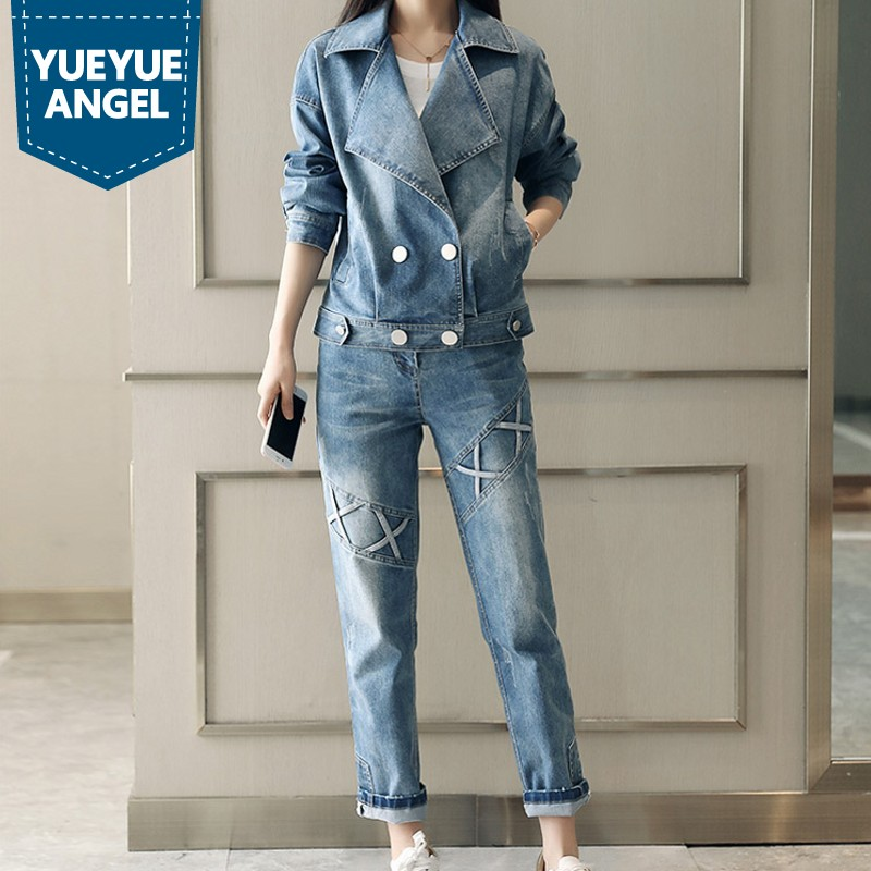 Ensemble Femme 2019 Spring New Fashion Harajuku Slim Fit Long Sleeve Denim Jacket Casual Full Length Womens Jeans Sets Woman