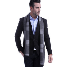 Fall and Winter New Business Leisure Scarf Mens Cashmere Classic Color Block Stitching
