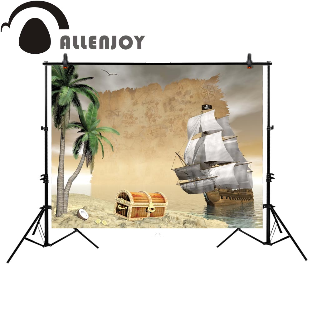 Allenjoy pirate photography backdrop birthday party sea cartoon children custom Background photobooth photocall photo studio bmbe табурет pirate