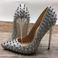 Silver Rivets Red High Heels Patent Leather Needle Rivets Shallow Lipstick High Heels Shoe Pump Wave