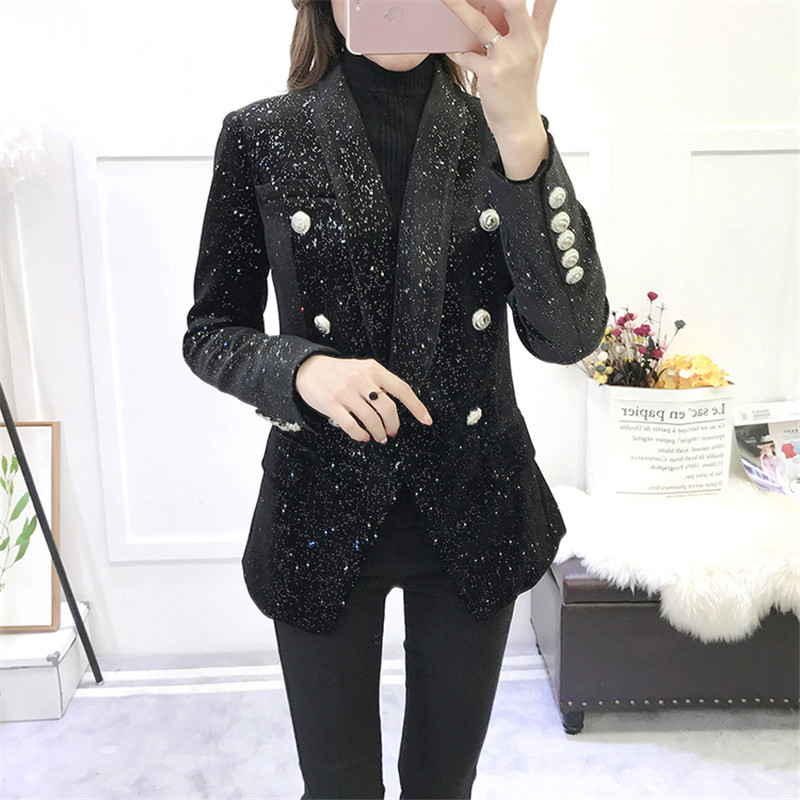 High Quality New Fashion 2018 Runway Women Shawl Collar Long Sleeve Glitter Sequins Blazers Double Breasted