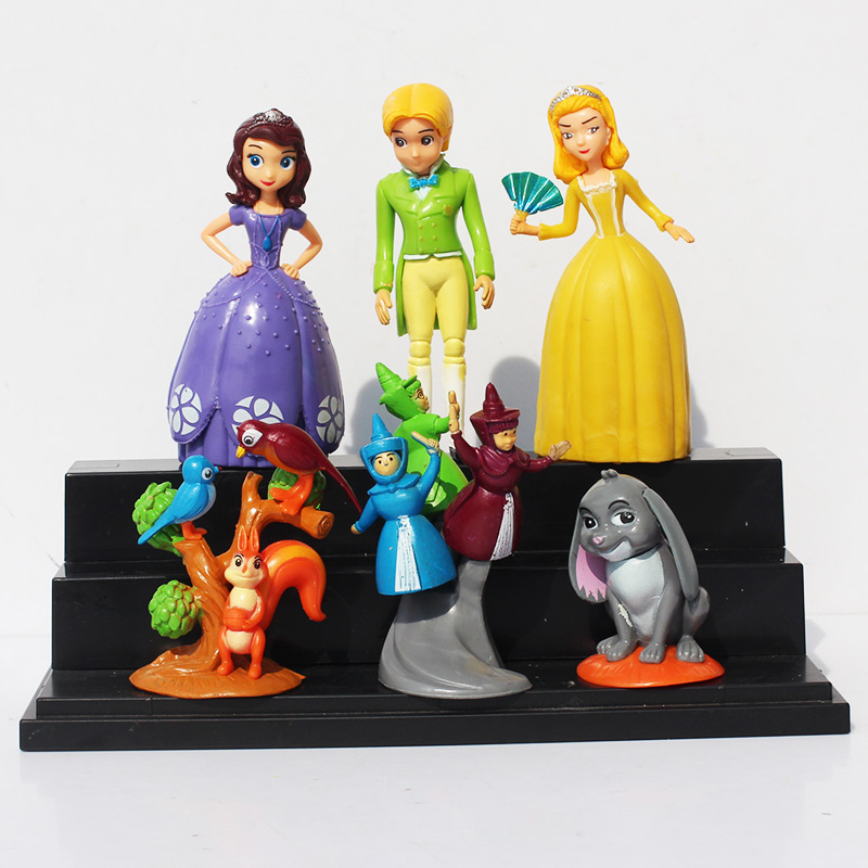 Princess Sofia The First PVC Action Figures Model Toy Dolls 7~12CM 6Pcs/set Retail Free Shipping original aladdin and the magic lamp action figures toy aladdin jasmine princess model doll