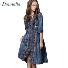 Bohemian Style Denim Dress Women Vintage Embroidery Jeans Women Dresses with Belt Pleated Summer Rope Long Denim Dress Lady 2016