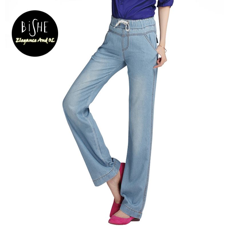 BiSHE Women Flare Jeans Retro Style Bell Bottom Plus Size Skinny Jeans Lace Up female Blue Solid Wide Leg Denim Pants Young Lady цены онлайн