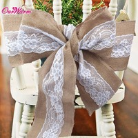 Lace Burlap Wedding Chair Sashes Bow Natural Hessian Jute Chair Cover For Wedding Decoration Home Hotel