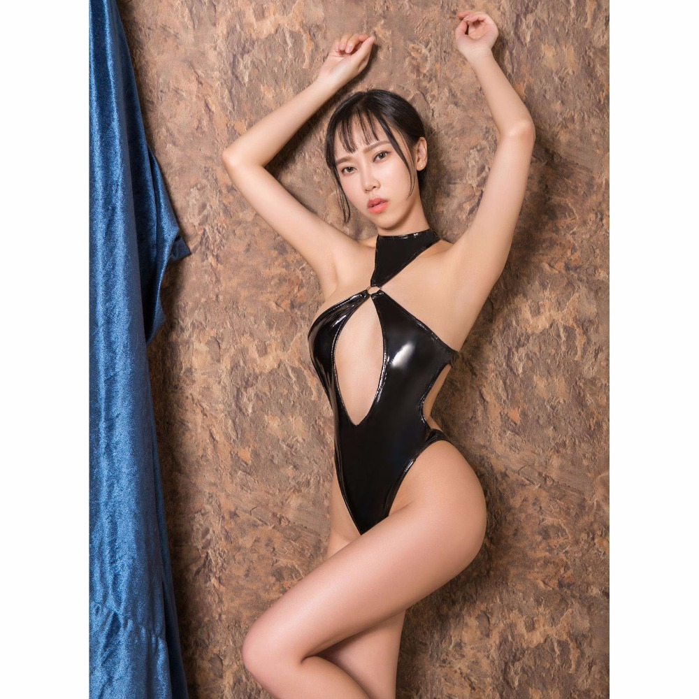 Patent Leather High Cut Exotic Lingerie Women Metal Ring Bandage Halter Bodysuit Exposed Hot Sexy Interesting Swimsuit Pu Bikini Luggage & Bags