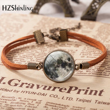 2019 New Arrival Full Moon Leather Bracelet Handmade Glass Dome Lunar Eclipse Bracelet Jewelry Gift For Women(China)