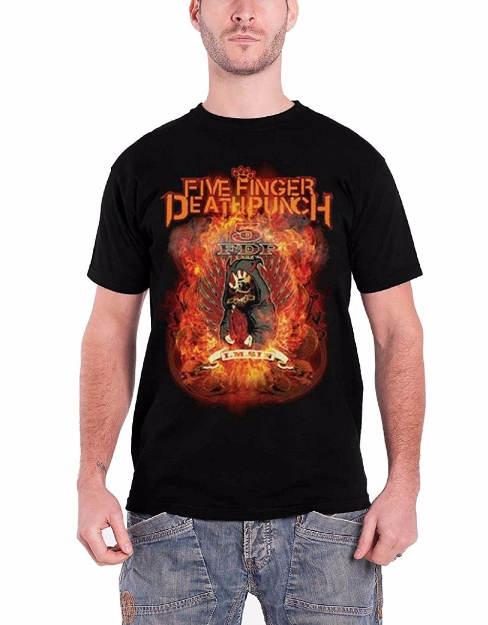 Cool T Shirts For Sale Mens Short Five Finger Death Punch Shirt Burn In Sin Band Logo Official Mens Black O-Neck Tall T Shirt
