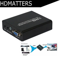 HDmatters 1080P HDMI to VGA Scaler audio converter HDCP decoder for PS4 Pro,PS4,PS3, laptop,PC with power adapter