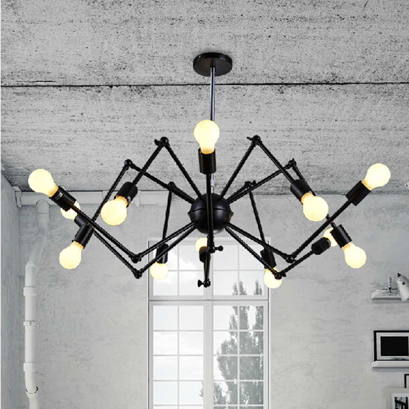 Nordic Retro pendant Edison  Light Vintage industrial Loft Antique lamps black wrought iron chandelier  Art Spider Fixture Light diy vintage lamps antique art spider pendant lights modern retro e27 edison bulb 2 meters line home lighting suspension