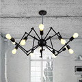 Nordic Retro pendant Edison  Light Vintage industrial Loft Antique lamps black wrought iron chandelier  Art Spider Fixture Light
