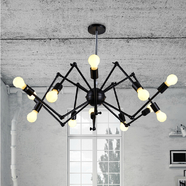 Nordic Retro Pendant Edison Light Vintage Industrial Loft Antique Lamps Black  Wrought Iron Chandelier Art Spider