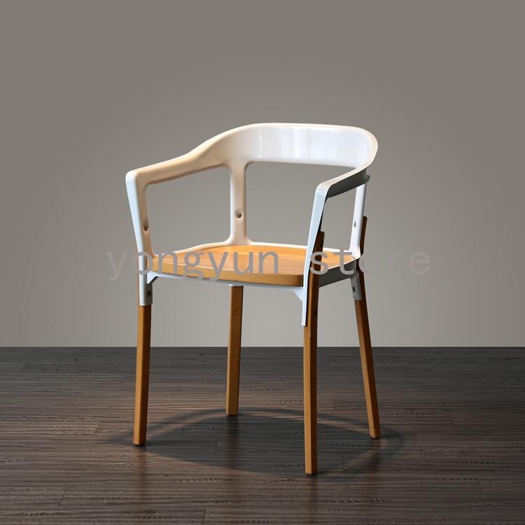 Wood Steel Dining Room Chairs: Aliexpress.com : Buy Minimalist Modern Creative Steel