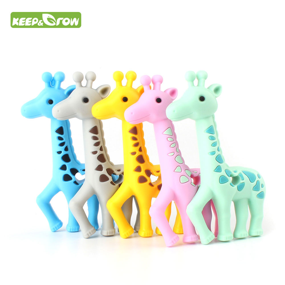 KEEP&GROW 1Pc Giraffe Deer Silicone Teether Infant Necklace Bracelet Mordedor Baby Teethers DIY Pacifier Chain Pendant BPA Free