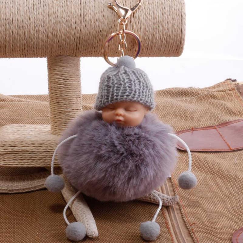 Novo saco de Dormir Do Bebê Boneca Chaveiro boneca pé Pompom Coelho falso Bola de pêlo Chaveiro Car Chaveiro Mulheres Suporte Chave BagCharm jóias