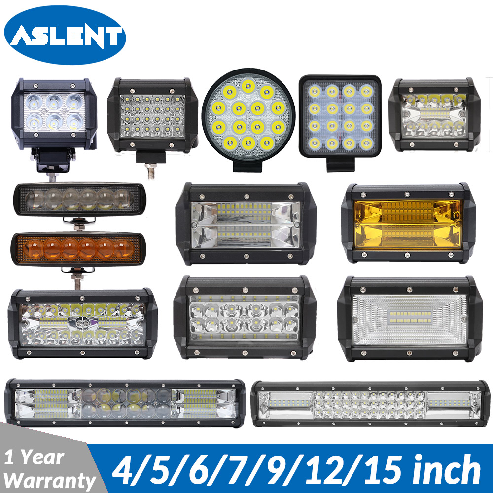 ASLENT 4 7 12 15 inch 18W 60W 72W 120W LED Work Light Bar for Motorcycle Tractor Boat Off Road 4WD 4x4 Truck SUV ATV