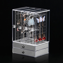 Jewelry Display Hanging Earring Necklace Chain Ring Hanger Holder Rack with Velvet Drawers For Storage Jewelry Organizer 4Doors