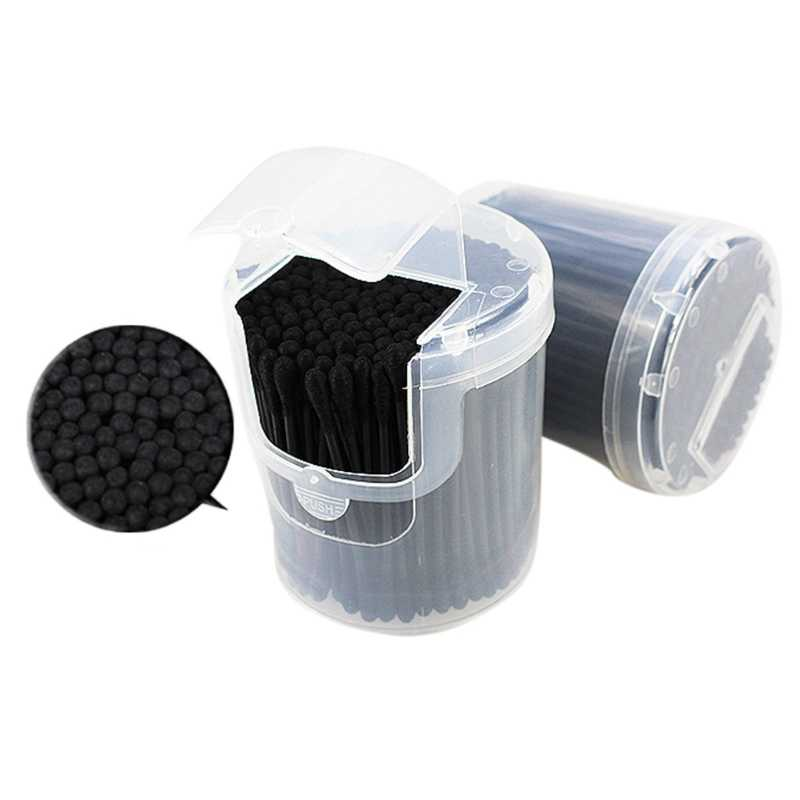 200Pcs Activated Black Anti-bacterial Cotton Swab Ear Buds Double Head Cleaning