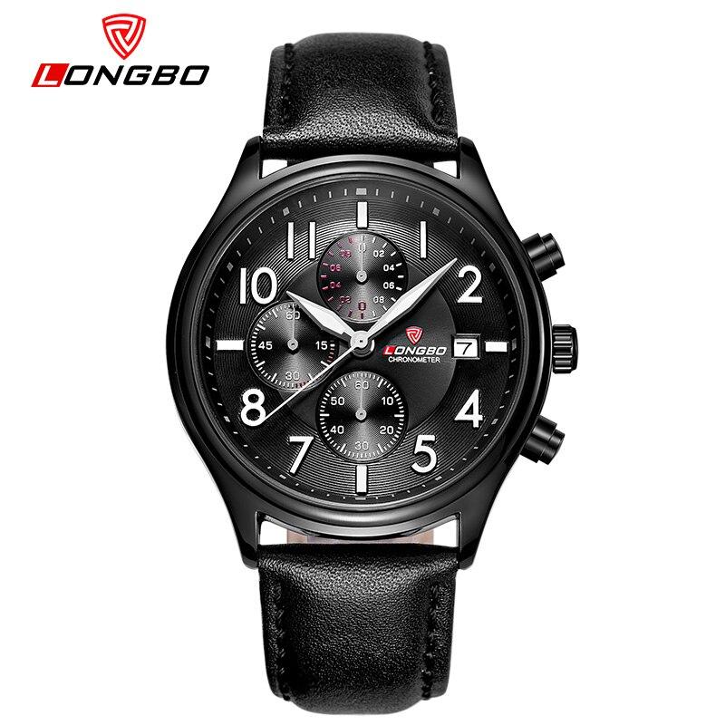 LONGBO Chronograph Luxury Brand Men Leather Watch Sports Quartz Watch For Men Male Casual Clock Military Watch Relogio Masculino
