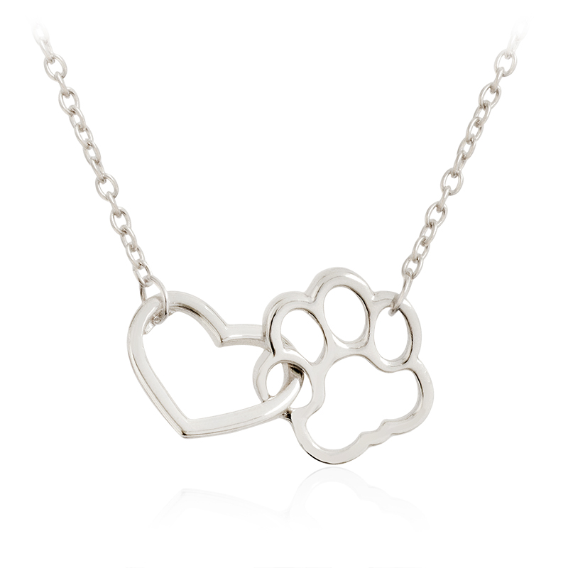 Linked Heart & Paw Necklace Silver Hollow Heart shaped Pet Paw Print Pendant Necklace for Dog Owners Women Men Animal Jewelry
