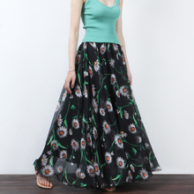 Women Fashion Summer Vacation Beach Flowers Large Swing Skirt High Waist Bohemian Print A Line Floor Length Skirt Xhsd-3089