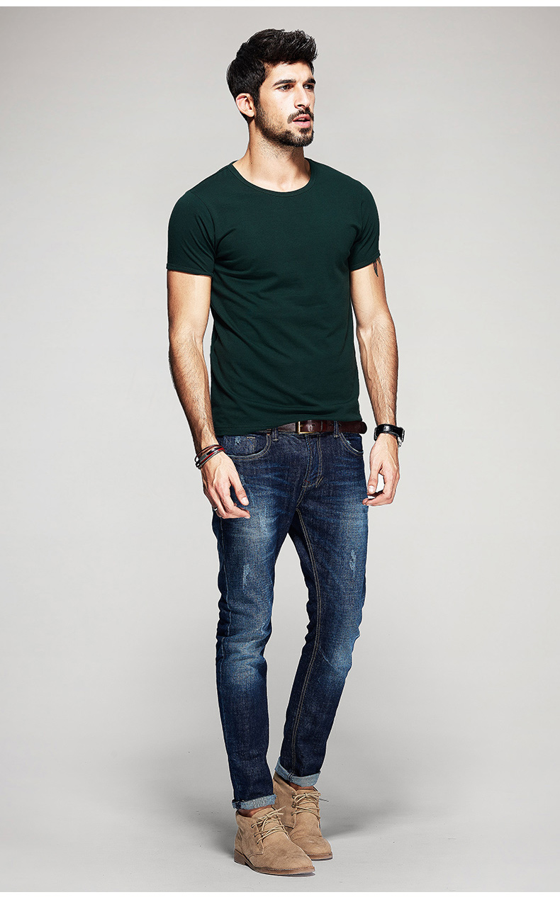 KUEGOU Summer Mens Casual T Shirts 10 Solid Colors Brand Clothing Man's Wear Short Sleeve Slim T-Shirts Tops Tees Plus Size 601 39