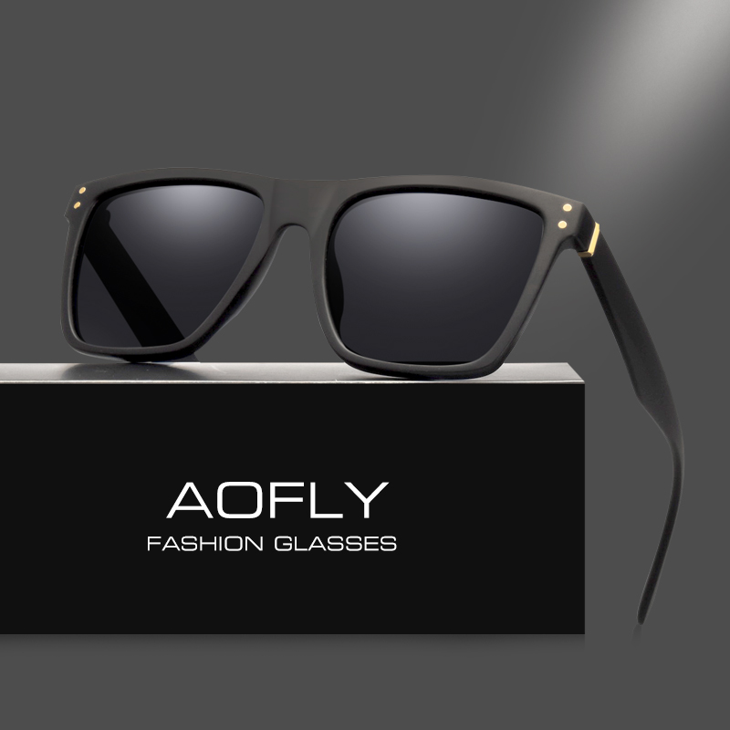 AOFLY Kişi Polarize Günəş gözlükləri Vintaj Kişi Eynək Polaroid linzalar Moda Marka Dizayneri Oculos Gafas De So AFF33
