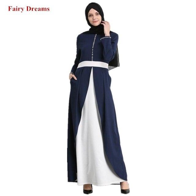 1d96d9b0903 Women s Abaya Dubai Islamic Clothing Blue Party Dresses Maxi Muslim Dress  Elegant Bangladesh Kaftan Turkey Long Sleeve Robe 2019