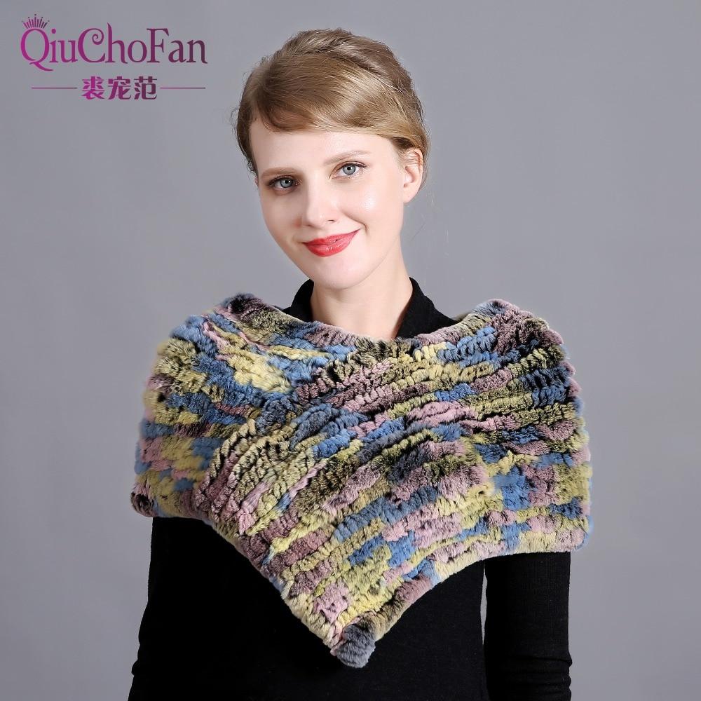 Women Genuine Knitted Rex Rabbit Fur Scarves Neckerchief Natural Fashion Hot Sale Winter Real Fur Stole Mufflers wide shawl wrap