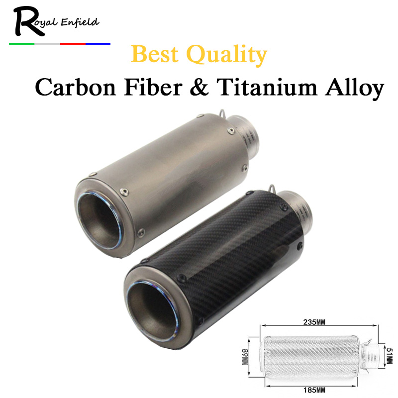 Motorcycle modified muffler Titanium alloy carbon fiber Motorcycle Muffler Exhaust Escape Link Pipe ZX6R CBR1000 Z1000 for KTM free shipping carbon fiber id 61mm motorcycle exhaust pipe with laser marking exhaust for large displacement motorcycle muffler page 6