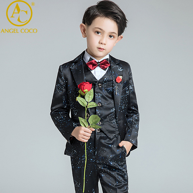 Boys Suits For Weddings Kids Prom Suits Black Wedding Suits For Boys Tuxedo Children Clothing Set Boy Formal Costume Garcon 2018 high quality school uniform new fashion baby boys kids blazers boy suit for weddings prom formal gray dress wedding boy suits