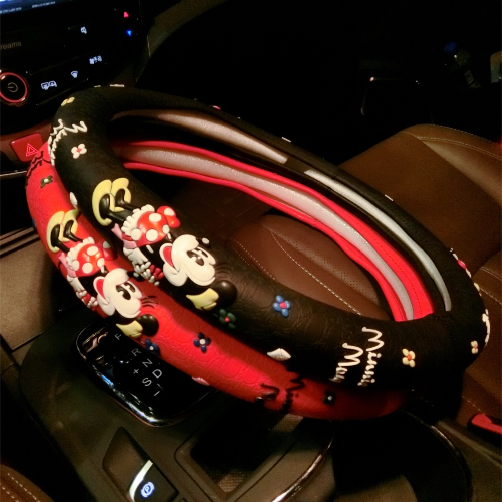 Cartoon Cute Steering Wheel Covers Mickey Mouse Printed Car Steeing Wheel Cover Black Latex Car font