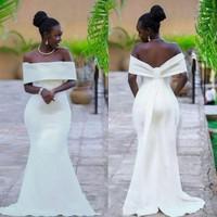 Elegant Ivory Mermaid Evening Dresses Custom Made Floor Length robe de soiree Plus Size African Women Long Dress Evening