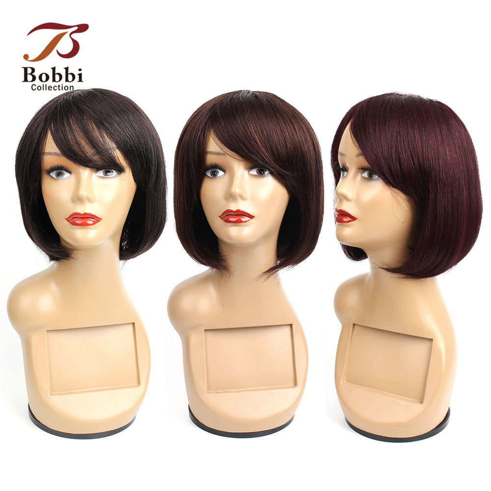 Bobbi Collection Human Hair Wigs With Bang Black Brown Burgundy 99j Machine Made Lace Crown Short Hair Wig Brazilian Remy Hair