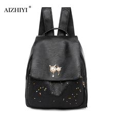 Female Backpack Preppy Style Women Backpack Star Pearl Decor High Quality Travel Bags Flap PU Leather School Casual Knapsack недорого