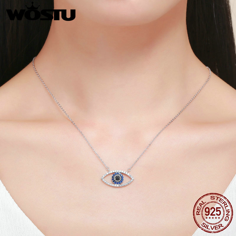 WOSTU Real S925 Sterling Silver Clear Blue CZ Guardian Protection Eye Chian Link Necklace Pendant Female Fine Jewelry BKN169