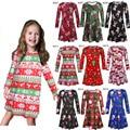 Ano novo Vestido de Festa de Natal Para As Meninas Do Bebê Papai Noel Xmas Tree Alce Crianças da Longo-Luva Roupas de Menina Princesa vestidos 3-7 T