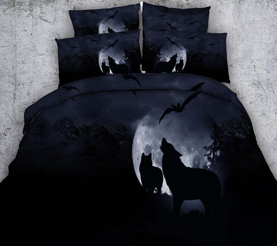 Moon Sexy Wolf Bat Black Bedding Sets 3d Print Comforter